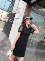 Dress Summer 2020 black M,L,XL,2XL Mid length dress singleton  Short sleeve commute Polo collar High waist Solid color Socket A-line skirt puff sleeve Others 25-29 years old Type X Korean version 81% (inclusive) - 90% (inclusive) knitting polyester fiber