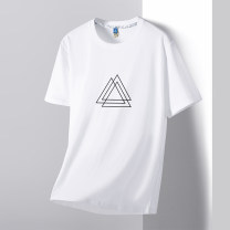 T-shirt Youth fashion Black and white thin 4XL M L XL 2XL 3XL Gebotoo / geboto Short sleeve Crew neck Self cultivation Other leisure summer GBT-AOO95LA Cotton 100% youth routine Youthful vigor Cotton wool Summer 2021 Geometric pattern Yichun UNIQLO Hailan home Geometric pattern Fashion brand