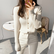 Wool knitwear Autumn of 2019 S M L XL XXL Long sleeves singleton  Cardigan other More than 95% Regular routine commute Straight cylinder V-neck routine Solid color Single breasted Korean version ST1126 18-24 years old Little girl Other 100% Pure e-commerce (online only)