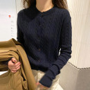 sweater Autumn 2020 S M L XL Apricot Navy Long sleeves Cardigan singleton  Regular other 95% and above Crew neck Regular commute routine Solid color Straight cylinder Keep warm and warm 25-29 years old Little girl Button Other 100% Pure e-commerce (online only) Single breasted
