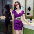 Dress Summer 2020 Purple, red, rose, sky blue S,M,L,XL,2XL,3XL Short skirt singleton  Short sleeve commute V-neck middle-waisted Solid color Socket Pencil skirt routine Others 25-29 years old Type H Korean version Backless, pleated, stitched, mesh G3670 More than 95% other polyester fiber