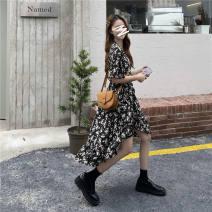 Dress Korean version Summer 2021 Medium length skirt Short sleeve singleton  commute Broken flower V-neck Irregular skirt routine 18-24 years old 51% (inclusive) - 70% (inclusive) polyester fiber Other Chiffon S,M,L,XL,2XL