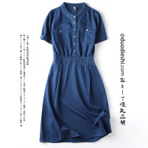 Dress Summer 2020 blue M L XL longuette singleton  Short sleeve commute Crew neck middle-waisted Solid color Socket A-line skirt other 25-29 years old Poems about butterflies pocket DDS3102 More than 95% other Other 100% Exclusive payment of tmall
