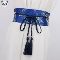 Belt / belt / chain cloth Royal Blue Red Pink Black safflower black gold flower female Waistband ethnic style Double loop Youth bow printing Fringes and thick thread decorated bows Ting Shiyuan Spring 2020