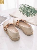 Low top shoes 34,35,36,37,38,39,40 Other / other Black, apricot Round head PU Flat bottom Flat heel (1cm or less) Shallow mouth Superfine fiber Summer 2021 Trochanter Korean version Adhesive shoes Youth (18-40 years old) Solid color rubber Single shoes Color matching and belt decoration daily T363-1