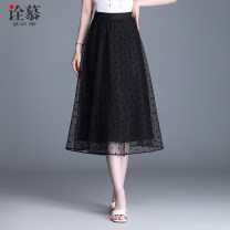 skirt Summer 2021 20/M 21/L 22/XL 23/2XL 24/3XL 25/4XL black Mid length dress commute High waist A-line skirt Solid color 30-34 years old More than 95% An interpretation of Mu polyester fiber Korean version Polyester 97% other 3% Pure e-commerce (online only)