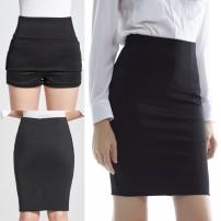 skirt Spring of 2019 XS,S,M,XL,2XL,3XL,L ~? Long black (safety pants lining), long black (no lining), long navy blue (safety pants lining), short black (safety pants lining), short black (skirt lining), short black (no lining), Short Navy Blue (safety pants lining) Middle-skirt commute High waist
