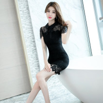Dress Summer of 2019 black S M L XL Short skirt singleton  Short sleeve commute Doll Collar High waist Solid color zipper One pace skirt routine 25-29 years old Zhiyu Korean version Lace More than 95% polyester fiber Polyester 95% polyurethane elastic fiber (spandex) 5% Pure e-commerce (online only)