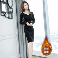Dress Winter of 2019 black S M L XL Middle-skirt singleton  Long sleeves commute V-neck High waist Solid color zipper One pace skirt routine 25-29 years old Zhiyu Ol style More than 95% polyester fiber Polyester 96% polyurethane elastic fiber (spandex) 4% Pure e-commerce (online only)
