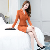 Dress Autumn 2020 Caramel S M L XL Middle-skirt singleton  Long sleeves commute tailored collar High waist Solid color zipper One pace skirt routine 25-29 years old Zhiyu Korean version 9635a More than 95% polyester fiber Polyester 95% polyurethane elastic fiber (spandex) 5%