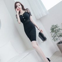 Dress Summer 2021 black S M L XL Middle-skirt singleton  Short sleeve commute square neck High waist Solid color zipper One pace skirt routine 25-29 years old Zhiyu Korean version More than 95% polyester fiber Polyester 95% polyurethane elastic fiber (spandex) 5% Pure e-commerce (online only)