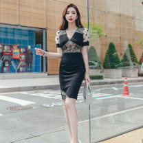 Dress Summer 2020 black S M L XL Middle-skirt singleton  Short sleeve commute V-neck High waist Solid color zipper One pace skirt routine 25-29 years old Zhiyu Ol style Lace 31% (inclusive) - 50% (inclusive) nylon Pure e-commerce (online only)