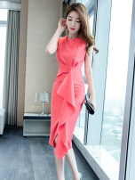 Dress Summer of 2019 Watermelon red S M L XL 2XL Mid length dress singleton  Sleeveless commute Crew neck High waist Solid color zipper One pace skirt routine 25-29 years old Zhiyu Korean version 91% (inclusive) - 95% (inclusive) polyester fiber Pure e-commerce (online only)