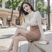 Dress Autumn 2020 Picture color S M L XL Middle-skirt singleton  Long sleeves commute Crew neck High waist Solid color zipper One pace skirt routine 25-29 years old Zhiyu Korean version Lace More than 95% polyester fiber Polyester 95% polyurethane elastic fiber (spandex) 5%