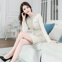 Dress Winter of 2019 Apricot S M L longuette Long sleeves commute Crew neck High waist lattice zipper One pace skirt routine 25-29 years old Zhiyu Korean version Nail bead More than 95% polyester fiber Polyester 100% Pure e-commerce (online only)
