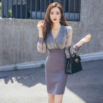 Dress Autumn 2020 Picture color S M L XL Middle-skirt singleton  Long sleeves commute V-neck High waist Solid color zipper One pace skirt routine 25-29 years old Zhiyu Korean version Splicing More than 95% polyester fiber Polyester 100% Pure e-commerce (online only)
