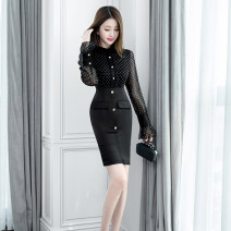 Dress Winter of 2019 black S M L XL longuette singleton  Long sleeves commute Crew neck High waist Dot zipper One pace skirt pagoda sleeve 25-29 years old Zhiyu Korean version zipper More than 95% polyester fiber Polyester 100% Pure e-commerce (online only)