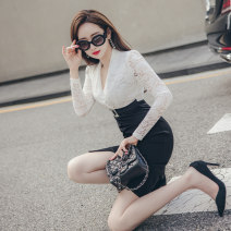 Dress Autumn 2020 black S M L XL Middle-skirt singleton  Long sleeves commute V-neck High waist Solid color zipper routine 25-29 years old Zhiyu Ol style More than 95% polyester fiber Polyester 95% polyurethane elastic fiber (spandex) 5% Pure e-commerce (online only)