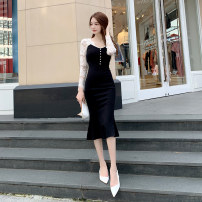 Dress Spring 2021 black S M L XL Mid length dress singleton  Long sleeves commute V-neck High waist Solid color zipper One pace skirt routine 25-29 years old Zhiyu Korean version Lace 2529A 31% (inclusive) - 50% (inclusive) nylon Pure e-commerce (online only)