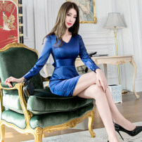 Dress Winter of 2019 royal blue S M L Middle-skirt singleton  Long sleeves commute V-neck High waist Solid color zipper One pace skirt routine 25-29 years old Zhiyu Ol style More than 95% polyester fiber Polyester 97% polyurethane elastic fiber (spandex) 3% Pure e-commerce (online only)