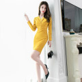 Dress Winter of 2019 yellow S M L Middle-skirt singleton  Long sleeves commute V-neck High waist Solid color zipper One pace skirt shirt sleeve 25-29 years old Zhiyu Korean version Button More than 95% polyester fiber Polyester 95% polyurethane elastic fiber (spandex) 5% Pure e-commerce (online only)