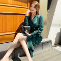 Dress Autumn 2020 blackish green S M L XL Mid length dress singleton  Long sleeves commute tailored collar High waist Solid color zipper One pace skirt routine 25-29 years old Zhiyu Korean version Button 2603A More than 95% polyester fiber Polyester 100% Pure e-commerce (online only)