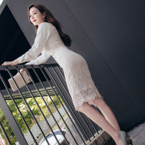 Dress Autumn 2020 white S M L XL Middle-skirt singleton  Long sleeves commute square neck High waist Solid color zipper One pace skirt routine 25-29 years old Zhiyu Korean version More than 95% polyester fiber Polyester 95% polyurethane elastic fiber (spandex) 5% Pure e-commerce (online only)