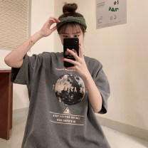 T-shirt 8828 white 8828 gray 8828 black single T-shirt, random delivery S M 3XL 4XL 5XL L XL 2XL Spring 2020 Short sleeve Crew neck easy Medium length routine commute other 96% and above 18-24 years old Korean version youth letter Shi Su DQDB85367 printing Other 100%