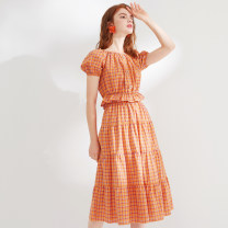 skirt Summer 2020 155/64A,160/68A,165/72A,170/76A 62 grid Mid length dress commute other lattice Type A 25-29 years old other Lesies / blue cotton lady