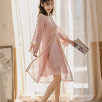 Nightdress Today's happiness Black 9837, Dousha red 9837, light pink 9837, white 9837, pink 9836, white 9836, black 9836, Dousha red 9839, pink 9839, white 9839 F luxurious Long sleeves Leisure home longuette summer Solid color youth V-neck Polyester (polyester) lace 41% (inclusive) - 60% (inclusive)