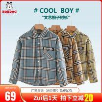 shirt Bobdog / Babu bean male 100cm 110cm 120cm 130cm 140cm 150cm spring and autumn Long sleeves leisure time lattice cotton Lapel and pointed collar Cotton 100% Class B Autumn of 2019