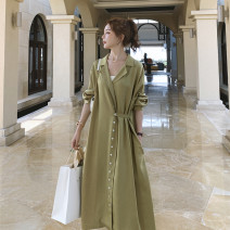 Dress Spring 2021 green S,M,L Mid length dress singleton  Long sleeves commute tailored collar High waist Solid color Single breasted A-line skirt raglan sleeve Type A Other / other Korean version Button, pocket Silk and satin