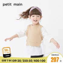 T-shirt khaki PETIT MAIN 90cm 100cm 110cm 120cm 130cm female spring and autumn Nine point sleeve Crew neck leisure time There are models in the real shooting nothing Cotton blended fabric Solid color Cotton 98.8% polyurethane elastic fiber (spandex) 1.2% Spring 2021