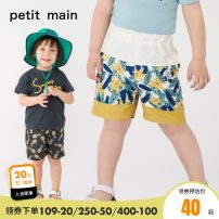 trousers PETIT MAIN male 80cm 90cm 100cm 110cm 120cm 130cm Carbon grey-81 ivory-05 C orange-20 C carbon grey-81 C ivory-05 summer Pant leisure time There are models in the real shooting Beach pants Leather belt middle-waisted Don't open the crotch Polyester 100% Class A Summer of 2019
