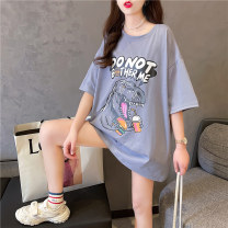 Women's large Summer 2021 Dark grey orange white M L XL XXL singleton  commute easy Socket Short sleeve Cartoon letters with animal patterns Korean version Crew neck Medium length cotton printing and dyeing routine Wild goose bean 18-24 years old Medium length Other 100% Pure e-commerce (online only)