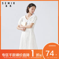 Dress Summer 2020 Benbai e1100 155/80A/S 160/84A/M 165/88A/L 170/92A/XL Mid length dress singleton  Short sleeve commute V-neck middle-waisted letter Socket A-line skirt bishop sleeve Others 18-24 years old Type A Semir / SEMA Korean version 19-331037 More than 95% other cotton