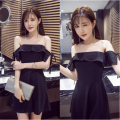 Dress Summer 2020 black S,M,L Short skirt singleton  Sleeveless commute One word collar middle-waisted Solid color zipper A-line skirt Breast wrapping 18-24 years old Type A Other Retro BFCF7CD5