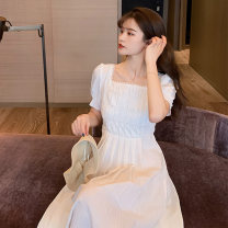 Dress Summer 2020 white Average size Mid length dress singleton  Short sleeve commute square neck High waist Solid color Socket Big swing puff sleeve 18-24 years old Douyuxuan Retro fold More than 95% other Other 100% Pure e-commerce (online only)