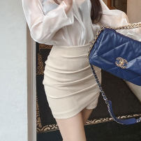 skirt Summer 2020 XS,S,M,L Off white, black Short skirt commute High waist skirt Solid color Type O 25-29 years old Pe4RfLqJ 91% (inclusive) - 95% (inclusive) brocade Korean version