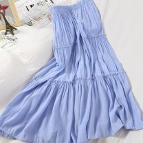 skirt Summer 2020 Average size White, black, yellow, blue Mid length dress Versatile High waist High waist skirt Solid color Type A 18-24 years old 71% (inclusive) - 80% (inclusive) other fungus