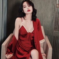 Pajamas / housewear set female Other / other M,L,XL claret , black , white , blackish green , Champagne , Grey blue Iced silk Long sleeves sexy pajamas summer routine V-neck Solid color shorts Socket youth 2 pieces rubber string More than 95% silk One piece 200g Middle-skirt