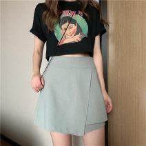 skirt Summer 2020 M,L,XL,2XL,3XL,4XL Black, picture Short skirt Versatile High waist Irregular Solid color Type A YA85564 91% (inclusive) - 95% (inclusive) Chiffon polyester fiber zipper