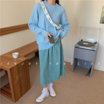 Fashion suit Winter 2020 Average size Blue top, green skirt, bag 18-25 years old