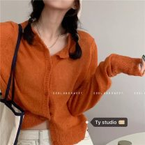 Wool knitwear Winter 2020 Average size White, orange Long sleeves singleton  Cardigan other 31% (inclusive) - 50% (inclusive) have cash less than that is registered in the accounts Thin money commute easy routine Solid color Single breasted Korean version 18-24 years old