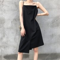 Dress Summer 2021 black Average size Mid length dress singleton  Sleeveless commute One word collar Loose waist Solid color Socket A-line skirt camisole 18-24 years old Type A Korean version Chiffon
