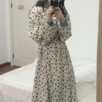 Dress Spring 2021 white Average size Mid length dress singleton  Long sleeves commute V-neck High waist Broken flowers other A-line skirt routine Others 18-24 years old Type A Korean version Chiffon