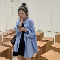 shirt BF blue shirt, black skirt Average size Autumn 2020 other 96% and above Long sleeves commute Medium length Polo collar Single row multi button shirt sleeve Solid color 18-24 years old Korean version