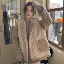 sweater Winter 2020 Average size Khaki sweater, vest Long sleeves Socket singleton  Regular other 95% and above Crew neck thickening commute routine Solid color Straight cylinder Keep warm and warm 18-24 years old