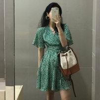Dress Summer 2021 green S, M Short skirt singleton  Short sleeve commute V-neck High waist Broken flowers Socket A-line skirt routine Others 18-24 years old Type A 2800# polyester fiber