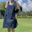 Dress Summer 2021 Denim skirt Average size Short skirt singleton  Sleeveless commute High waist Solid color Socket A-line skirt other straps 18-24 years old Type A Korean version Denim